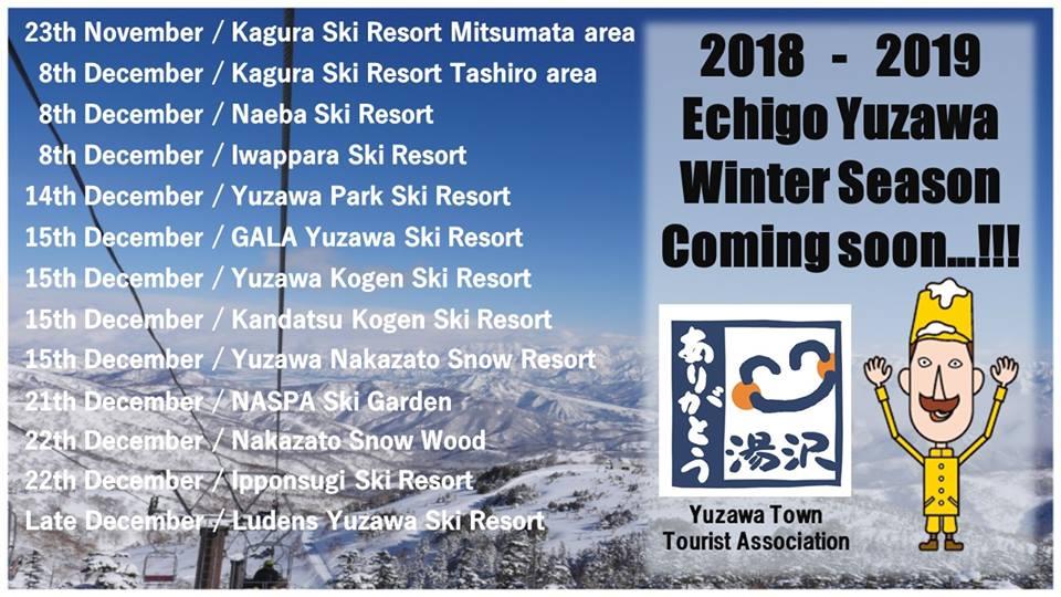 Yuzawa Town Ski Resort Opening Dates Winter 2018/2019
